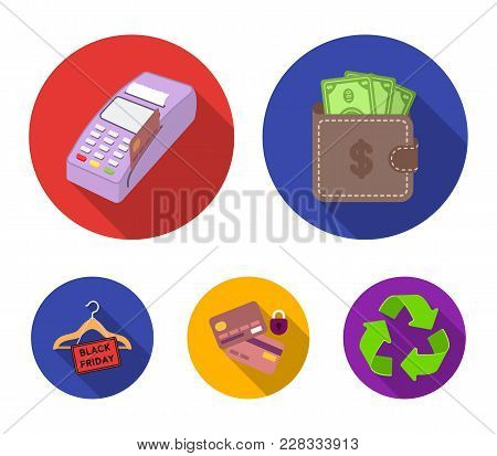 Purse, Money, Touch, Hanger And Other Equipment. E Commerce Set Collection Icons In Flat Style Vecto