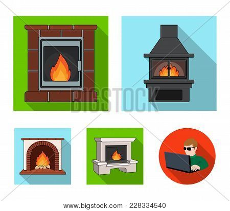 Fire, Warmth And Comfort. Fireplace Set Collection Icons In Flat Style Vector Symbol Stock Illustrat