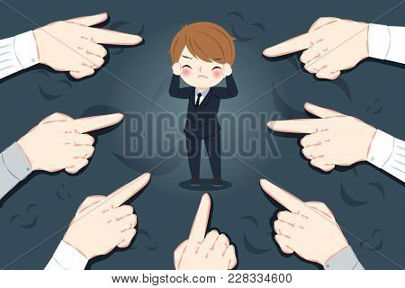 Blusiness Man With Bullying Concept On The Black Background