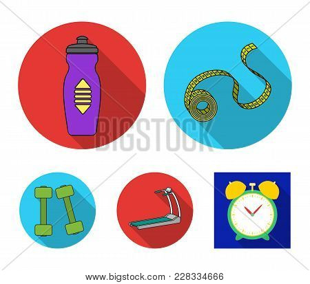 Measuring Tape, Water Bottle, Treadmill, Dumbbells. Fitnes Set Collection Icons In Flat Style Vector