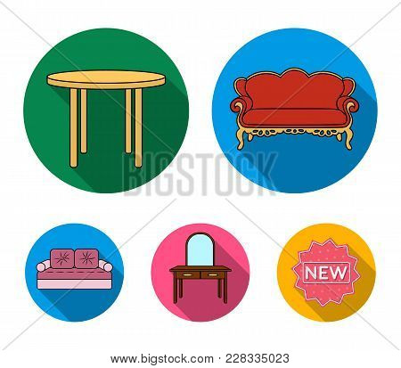 Sofa, Armchair, Table, Mirror .furniture And Home Interiorset Collection Icons In Flat Style Vector