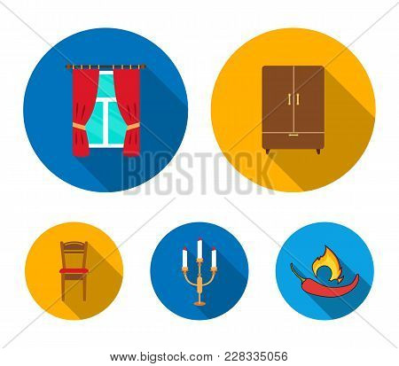 Wardrobe, Window With Curtains, Candlestick, Chair.furniture Set Collection Icons In Flat Style Vect