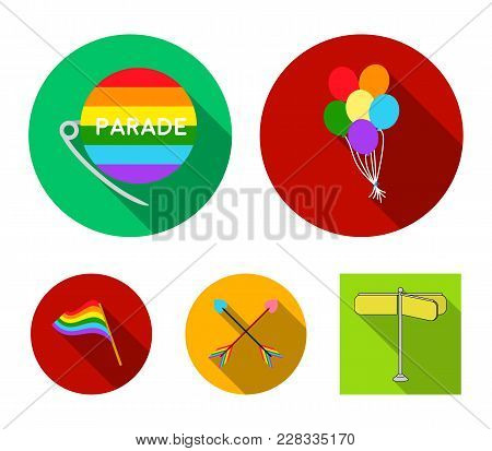 Balls, Gay Parade, Arrows, Flag. Gayset Collection Icons In Flat Style Vector Symbol Stock Illustrat