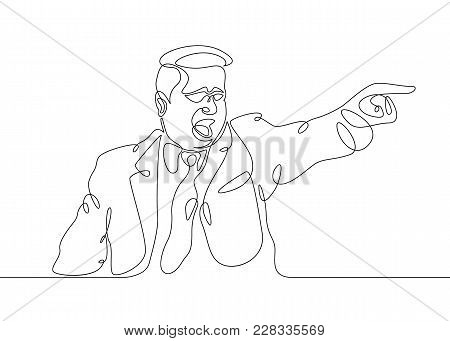 Continuous One Single Line Drawn Character Politics Of Business Coach Speaking Before Audience. Poli