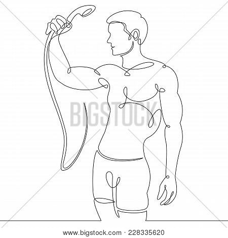Single One Continuous Line Drawn By A Man In A Sauna, Steam Room, Shower.