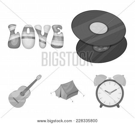 Vinyl Discs, Guitar, Tent.hippy Set Collection Icons In Monochrome Style Vector Symbol Stock Illustr