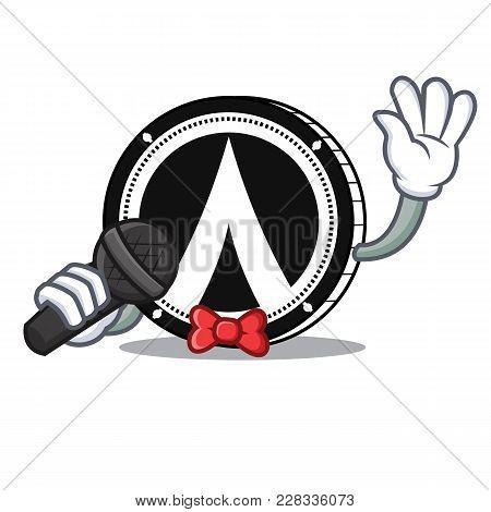 Singing Dentacoin Mascot Cartoon Style Vector Illustration