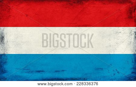 Vintage National Flag Of Luxembourg With Stripes Background