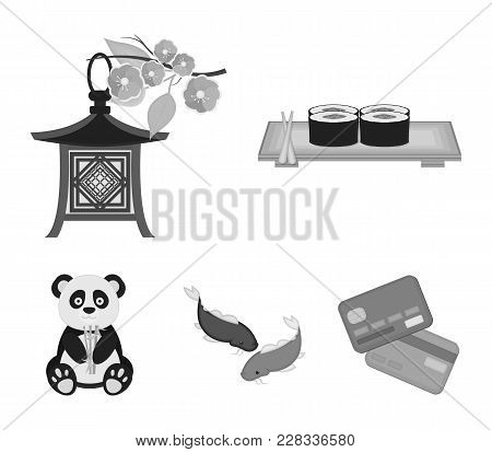 Sushi, Koi Fish, Japanese Lantern, Panda.japan Set Collection Icons In Monochrome Style Vector Symbo