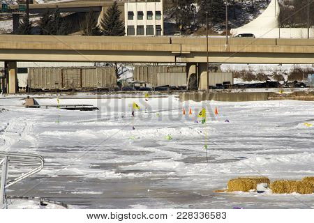 Ice Golf Course Along Highway In Duluth, Minnesota, Usa In Winter.