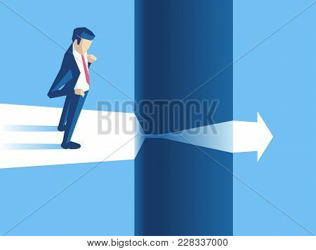 Businessman Stands On The Edge Of Gap And Arrow Passes Through It. Employee Cant Continue To Move Fo