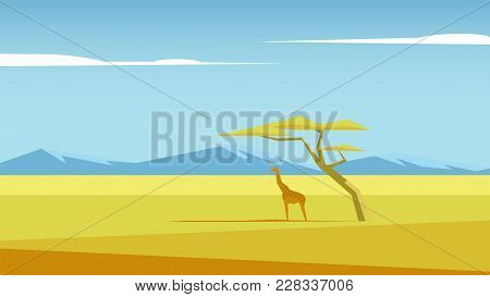 African Vector Landscape With A Giraffe And A Tree Standing In The Middle Of Savannah And Mountains