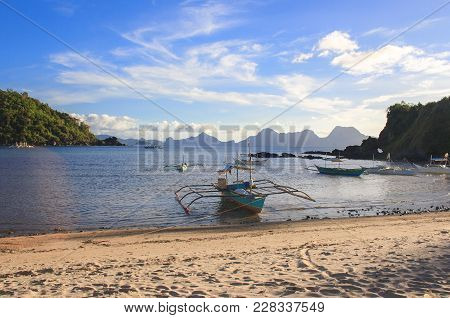 Landscape Of The Beach Of Nacpan. El Nido. The Island Of Palawan. Philippines.