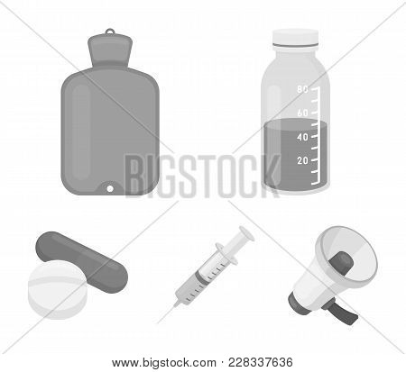 Solution, Warmer, Syringe, Pills.medicine Set Collection Icons In Monochrome Style Vector Symbol Sto
