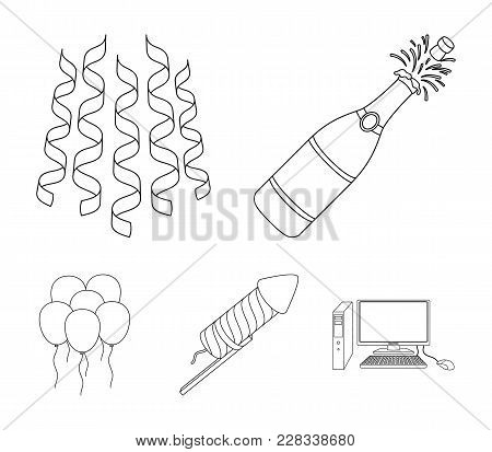 Champagne, Fireworks And Other Accessories At The Party.party And Partits Set Collection Icons In Ou