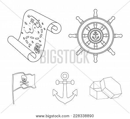 Pirate, Bandit, Rudder, Flag .pirates Set Collection Icons In Outline Style Vector Symbol Stock Illu