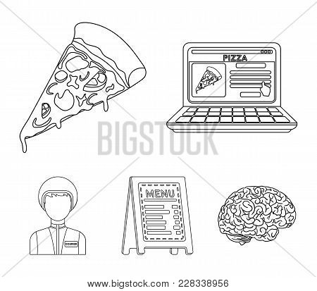 Reception Of Orders, A Piece Of Pizza, A Menu In The Pizzeria, A Courier For Delivery. Pizza And Piz
