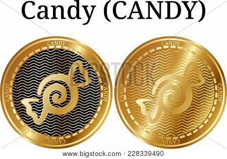 Set Of Physical Golden Coin Candy (candy), Digital Cryptocurrency. Candy (candy) Icon Set. Vector Il