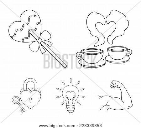 Cups With Coffee, Valentine, Lamp, Lock With Key. Romantic Set Collection Icons In Outline Style Vec