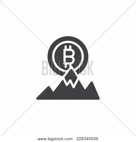 Bitcoin And Mountain Peak Vector Icon. Filled Flat Sign For Mobile Concept And Web Design. Bitcoin A