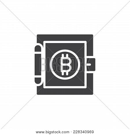 Bitcoin Strong Box Vector Icon. Filled Flat Sign For Mobile Concept And Web Design. Virtual Cryptocu
