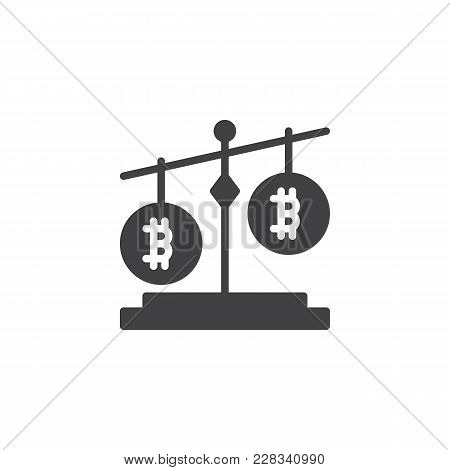 Bitcoin Balance Vector Icon. Filled Flat Sign For Mobile Concept And Web Design. Cryptocurrency Stab