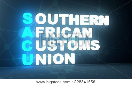 Acronym Sacu - Southern African Customs Union. Business Conceptual Image. 3d Rendering. Neon Bulb Il
