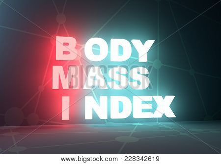 Acronym Bmi - Body Mass Index. Helthcare Conceptual Image. 3d Rendering. Neon Bulb Illumination