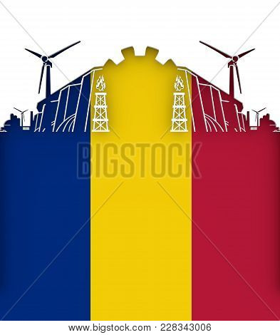 Energy And Power Cutout Silhouette. Sustainable Energy Generation And Heavy Industry. Flag Of The Ro