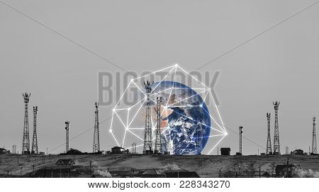 Telecommunication Towers With Global Network Connection. Element Of This Image Are Furnished By Nasa