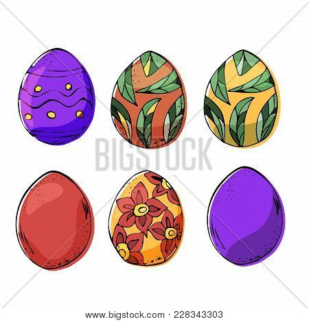 Six Easter Eggs In Dark And Light Colors. Stock Vector Isolated On Business Background.