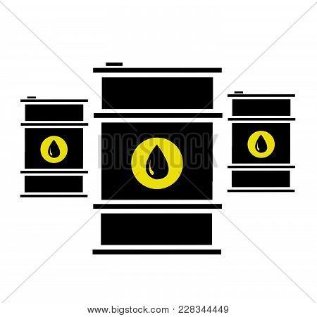Vector Illustration Of Oil Barrels On White Background