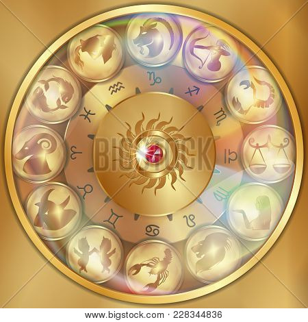 Vector Illustration Of Zodiac Signs On A Gold Disk In The Center Of The Star The Sun, Isolated Objec