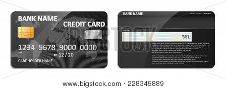 Realistic Detailed Black Bank Credit Card With World Map Abstract Design Isolated. Credit Plastic Ca
