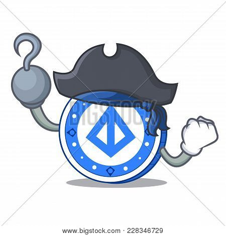 Pirate Loopring Coin Character Cartoon Vector Illustration