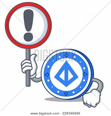 With Sign Loopring Coin Character Cartoon Vector Illustration