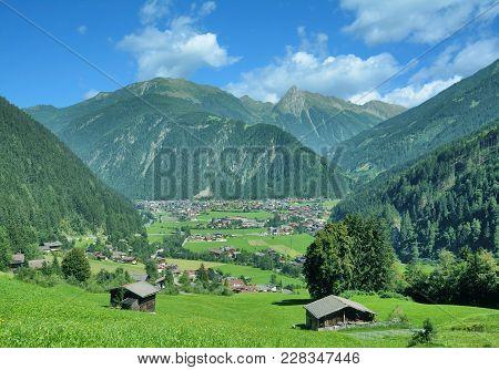View To Village Of Mayrhofen In Zillertal Valley,tirol,austria