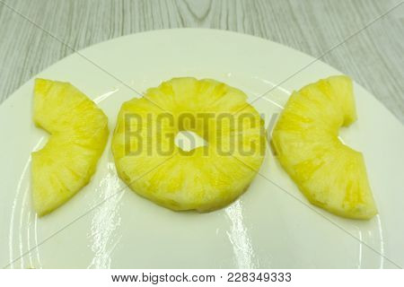 Pineapple Isolated. Pineapple Slice. Cut Pineapple On White