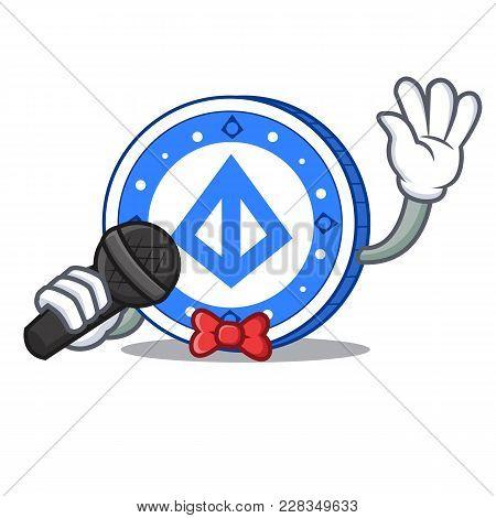 Singing Loopring Coin Mascot Cartoon Vector Illustration