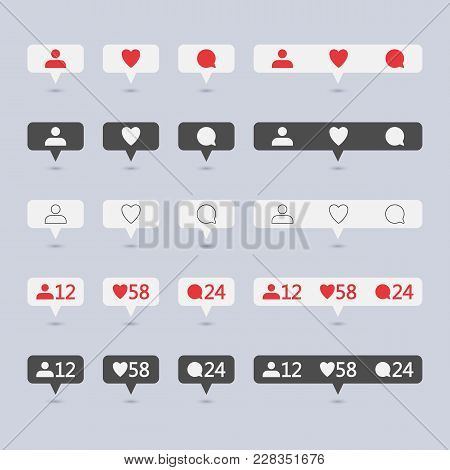 Symbols For Social Network. Notification Icons Social Media Notification. Template Heart, Comment, R