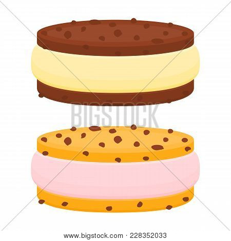 Vector Illustration Of Chocolate Chip Cookie Ice Cream Sandwich Isolated On White Background.