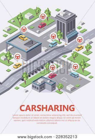 Isometric Carsharing City Map Vector Illustration 3d For Car Sharing Or Carpool Service Location Or