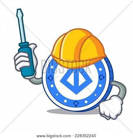 Automotive Loopring Coin Mascot Cartoon Vector Illustration