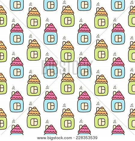 Seamless Pattern With Cute Green And Blue House. It Can Be Used For Packaging, Wrapping Paper, Texti