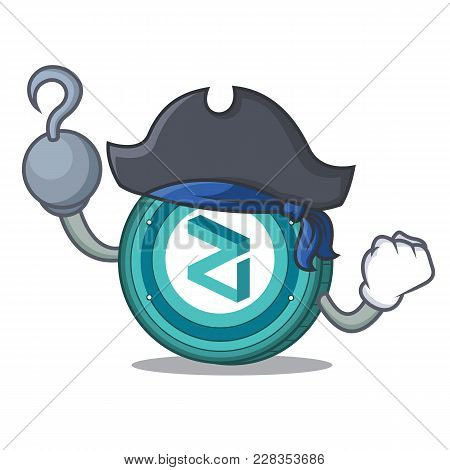 Pirate Zilliqa Coin Character Cartoon Vector Illustration