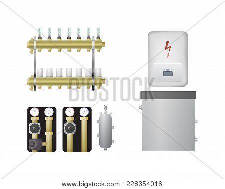 Electric Boiler Set. Vector Illustration. The Hvac Equipment. Manifold, Pump Water Heating