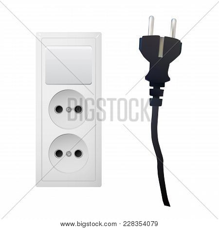 Electric Adapter With Two Plug And Switch. Electrical Outlet. Vector Illustration.