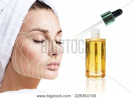 Cosmetic oil applying on young woman with lifting lines. Beauty therapy concept. Graphic lines showing facial lifting effect on skin. poster