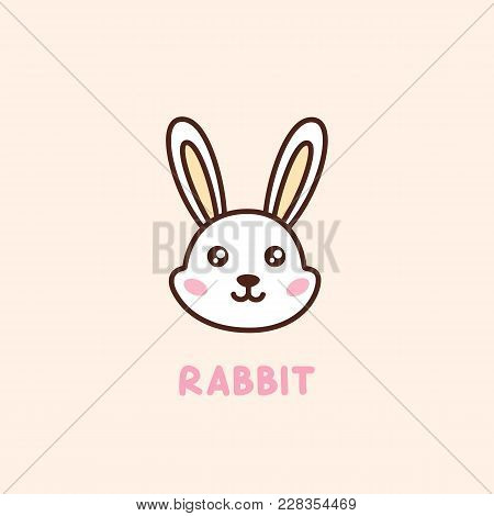 Cute Face Character Rabbit. It Can Be Used For Sticker, Patch, Card, Phone Case, Poster, T-shirt, Mu