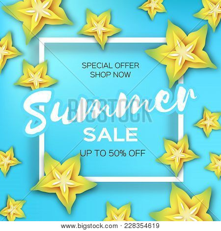 Exotic Yellow Carambola Star Fruit Summer Sale Banner In Paper Cut Style. Origami Juicy Ripe Starfru
